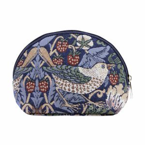 Make-up tasje Strawberry Thief Blue (William Morris)