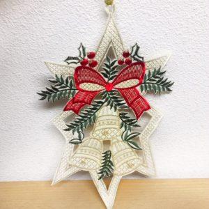 Kersthanger drie bellen en rode strik
