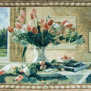 wandkleed tulpen in vaas