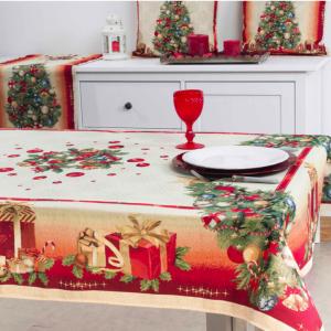Tafelkleed, luxe gobelin, Kerst Glam