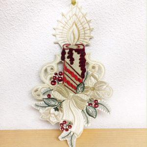 Kersthanger Kaars Witte strik