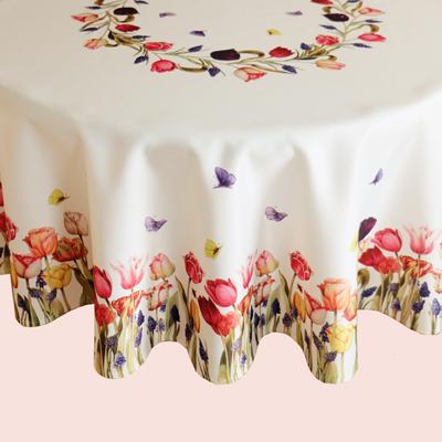 Tafelkleed creme kleurig bedrukt met tulpen