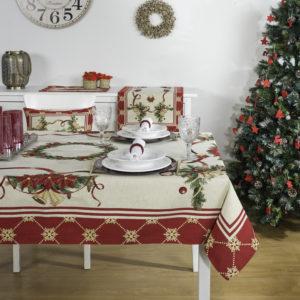 Tafelkleed, luxe gobelin, Christmas Bells