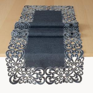 Tafelkleed serie - Donker grijs met geborduurde sier rand - Hart