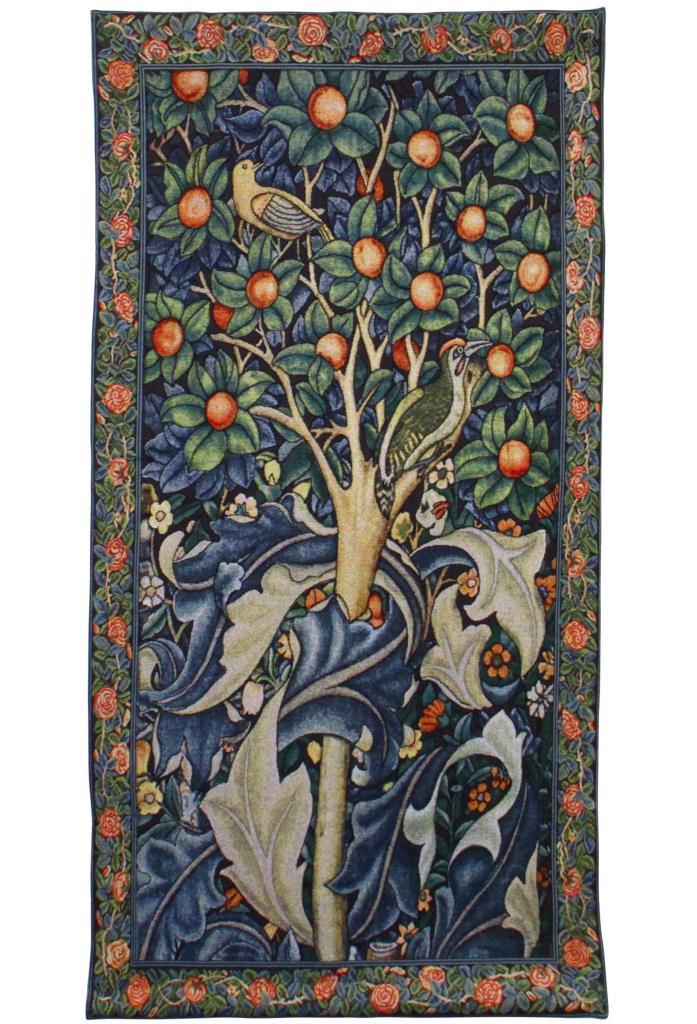 Wandkleed Woodpecker in fruit tree - Specht in Fruitboom - William Morris - 139 x 69 cm