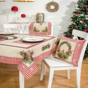 Tafelkleed serie - luxe gobelinstof - Christmas Candles - Kerst