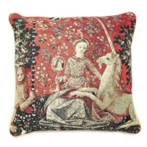 Kunst kussenhoes - Lady en Unicorn - Dame en de Eenhoorn - Sense of Sight