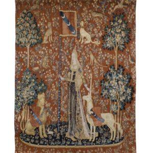 Wandkleed - Wandtapijt - Lady & Unicorn - Dame en de Eenhoorn - Sense of Touch - 120 x 85 cm