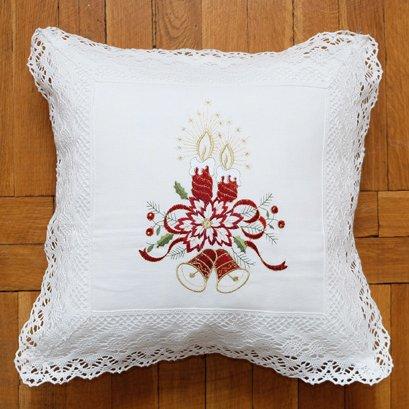 Kussenhoes - Linnenlook - Broderie - Off White met kant en rode kaarsen - Kerst - 40 cm