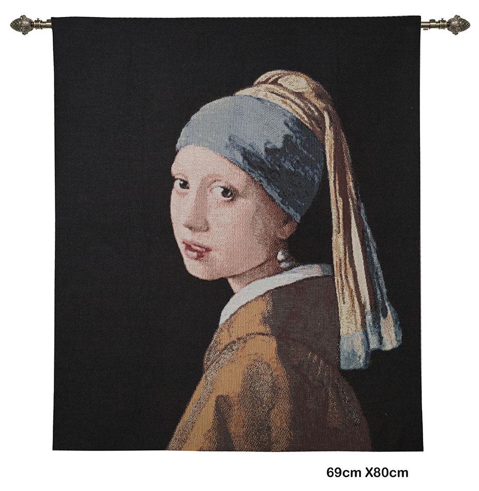 Wandkleed- Meisje met de Parel oorbellen - Girl with the pearl earring - Johannes Vermeer