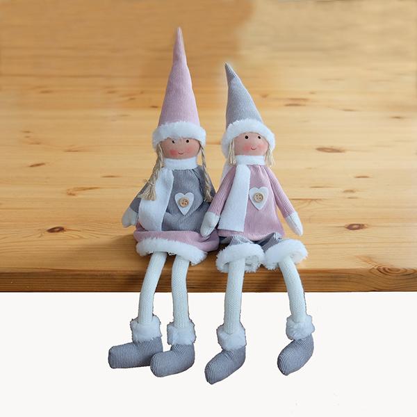 Set van 2 zelfzittende kerst poppetjes - Wichtel - 32 cm - Grijs en Roze