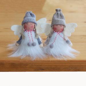 Set van 2 zelfzittende engeltjes – Wichtel – 8 cm – Grijs en Wit